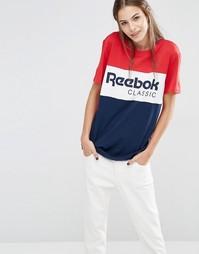 Красно-синяя oversize-футболка с логотипом Reebok - Красный