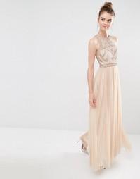 Платье макси Frock and Frill - Телесный