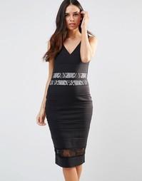 Бандажное платье миди с кружевной отделкой Paper Dolls - Черный