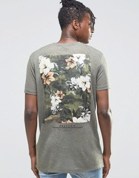 Удлиненная футболка в льняном стиле с цветочным принтом сзади ASOS