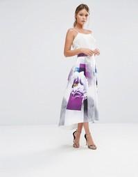 Юбка миди с цветочным принтом Closet - Мульти