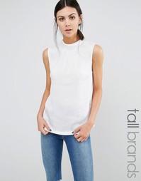 Блузка с высокой горловиной Y.A.S Tall Freja - Белый