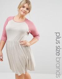 Приталенное платье с рукавами реглан Pink Clove - Бежевый