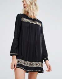 Платье мини с длинными рукавами и вышивкой Gat Rimon Rene - Noir