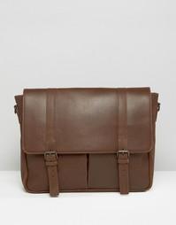 Кожаная сумка‑сэтчел с 2 ремешками ASOS - Коричневый