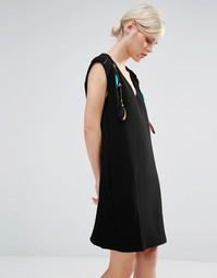 Цельнокройное платье с отделкой перьями и бисером See U Soon - Черный