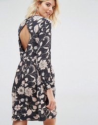 Платье с длинными рукавами и цветочным принтом Gat Rimon Moco - Noir