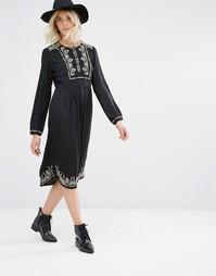 Платье с длинными рукавами и вышивкой Gat Rimon Lori - Noir