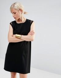 Цельнокройное платье с кружевной отделкой See U Soon - Черный
