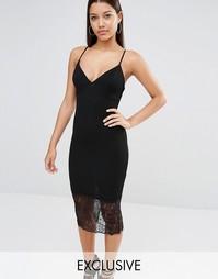 Эксклюзивное платье миди с кружевной кромкой Missguided - Черный