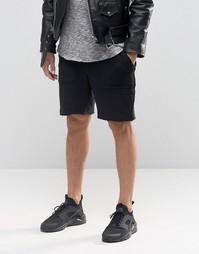 Черные фактурные трикотажные шорты с необработанными краями ASOS