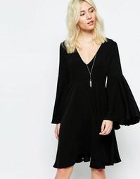 Расклешенное платье Neon Rose - Черный