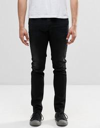 Черные джинсы скинни с потертостями Diesel Sleenker 674S