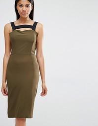 Платье с контрастными лямками Love - Хаки