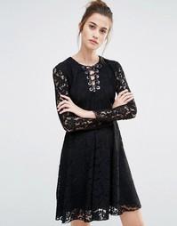 Кружевное свободное платье Sportmax Code Oronte - 003 черный