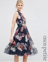 Платье миди с цветочным принтом ASOS PETITE - Мульти