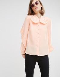 Рубашка с большим плиссированным воротником Lost Ink - Телесный