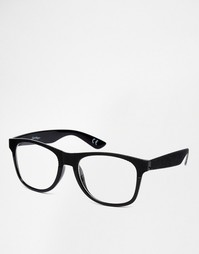 Очки в стиле ретро с прозрачными линзами Jeepers Peepers - Черный