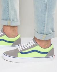 Кроссовки с зелеными неоновыми вставками Vans Old Skool V004OJJSV