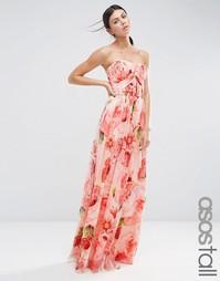 Платье-бандо макси с цветочным принтом и отделкой ASOS TALL WEDDING