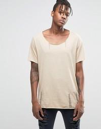 Бежевая меланжевая фактурная футболка с состаренным эффектом ASOS