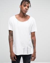 Белая меланжевая фактурная футболка с состаренным эффектом ASOS