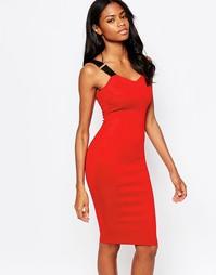 Платье миди с эластичными бретельками AX Paris - Красный