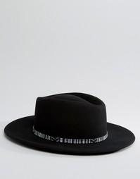 Широкополая шляпа с фестивальной лентой ASOS - Черный