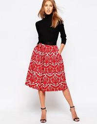 Плиссированная юбка миди из дамаста с принтом Closet