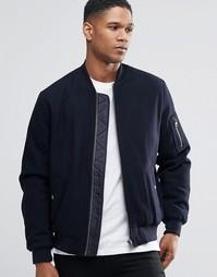 Темно-синяя полушерстяная куртка‑пилот с карманом MA1 ASOS