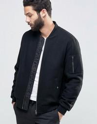 Черная полушерстяная куртка-пилот с карманом MA1 ASOS - Черный