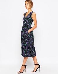 Платье в стиле ретро с оборкой и принтом Closet