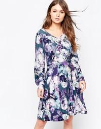 Платье с длинными рукавами и цветочным принтом Closet - Мульти