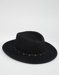 Широкополая шляпа с плоской круглой тульей и заклепками на ленте ASOS