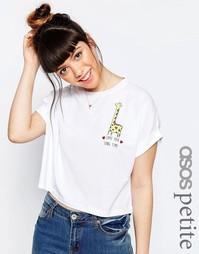 Укороченная футболка с принтом ASOS PETITE Love You Long Time - Белый