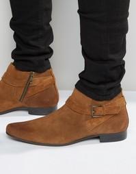 Светло-коричневые замшевые ботинки с ремешками и пряжками ASOS - Рыжий