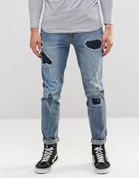 Синие рваные джинсы скинни с заплатками ASOS - Умеренный синий