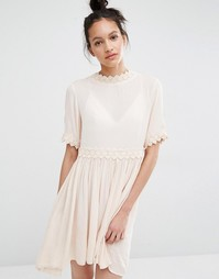 Vero Moda Cross Back Crochet Trim Dress - Blush