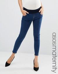Синие зауженные джинсы для беременных ASOS Materity Ridley - Синий