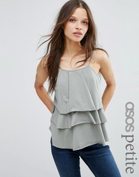 ASOS PETITE Cami with Washed Ruffles - Хаки