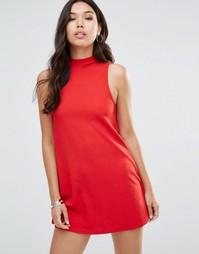Платье-трапеция с высокой горловиной AX Paris - Красный