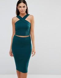 Топ и юбка в рубчик AX Paris - Сине-зеленый