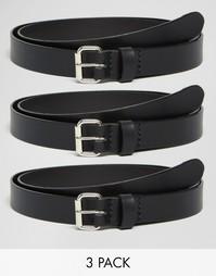 3 узких строгих кожаных ремня ASOS - СКИДКА 17% - Черный
