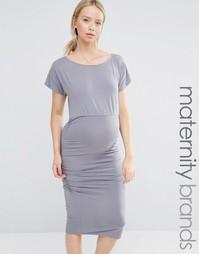 Облегающее платье со сборками и короткими рукавами Isabella Oliver