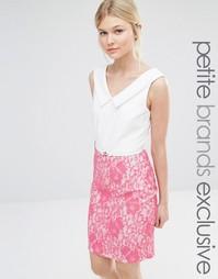 Платье-футляр с V-образным вырезом и контрастной кружевной юбкой Paper