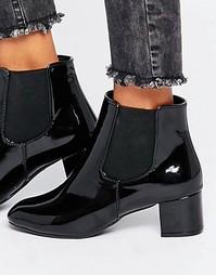 Черные лакированные ботинки челси Daisy Street - Черный лакированный
