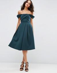 Платье для выпускного с вырезом лодочкой и складками ASOS