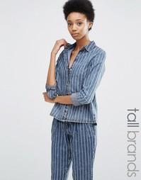 Noisy May Tall Pinstripe Shirt Co Ord - Синий