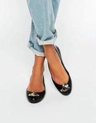 Черные туфли на плоской подошве Vivienne Westwood for Melissa Space Lo
