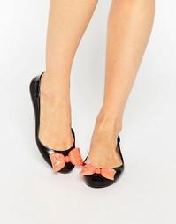 Черные туфли на плоской подошве с контрастным бантом Melissa + Jeremy